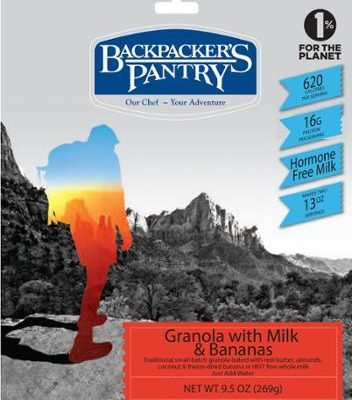 Backpacking Food - Backpacker's Pantry Granola with Milk and Bananas for 2