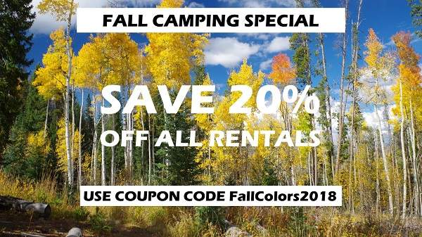 Camping equipment rentals sale